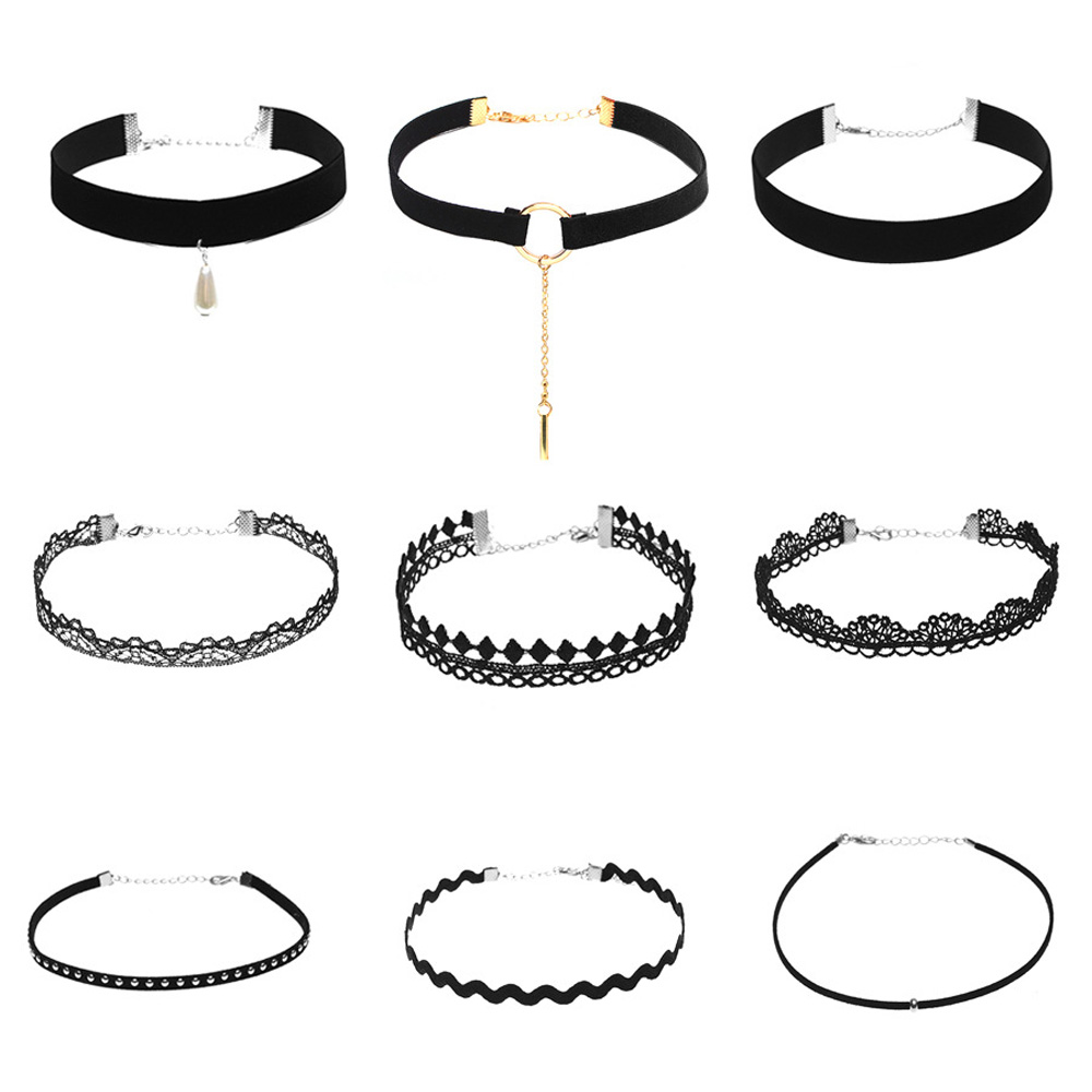 9 Piece a Set Collares Trendy Stretch Tattoo Choker Velvet Necklace Punk Retro Flannel Chorker Necklace Set 2016 New Jewelry