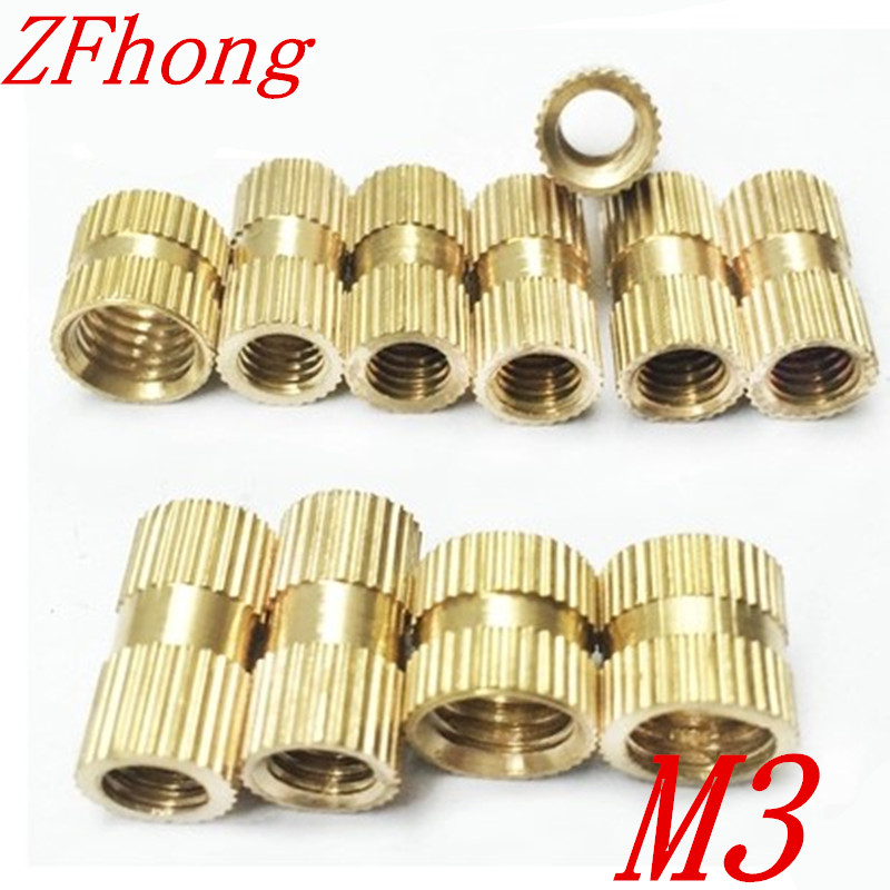 100pcs m3*3/4/5/6/8 OD 4.2mm M3 Injection Molding Brass Knurled Thread Inserts Nuts цены