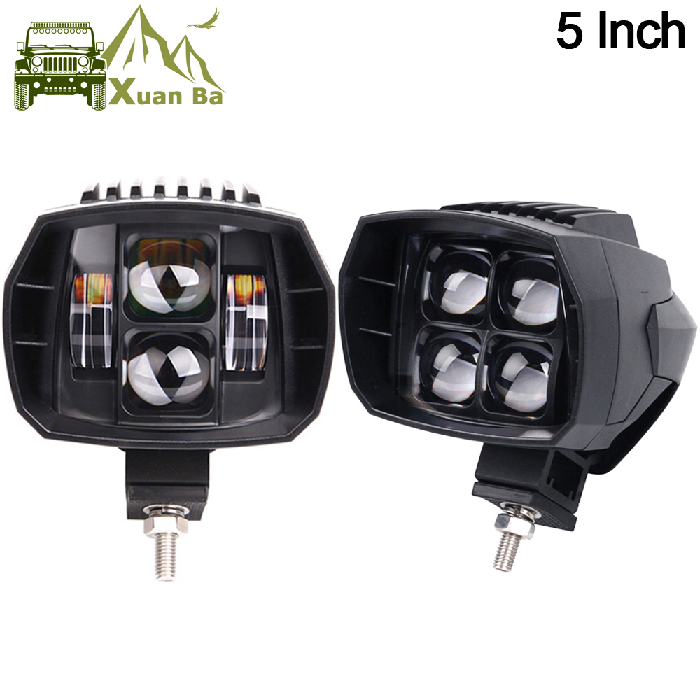 XuanBa 2Pcs 5 inch 35W Led Work Light High-Low Beam 12V 4x4 Off road Boat Truck SUV ATV Headlight For Jeep 24V Driving Lights 5inch new led driving light 40w led headlight low beam lamps for car truck suv atv marine new external light x2pcs free shipping