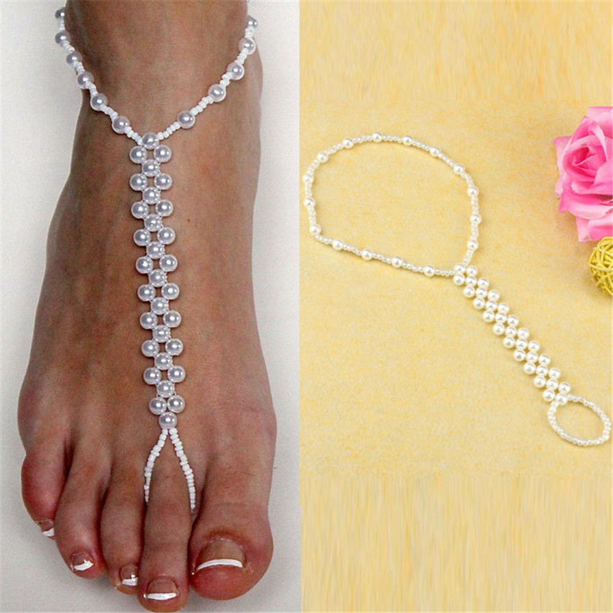 1 color Anklets 2018 Hot Imitation Pearl Barefoot Beach Anklets Sandals Anklet Foot Chain Jewelry JC16
