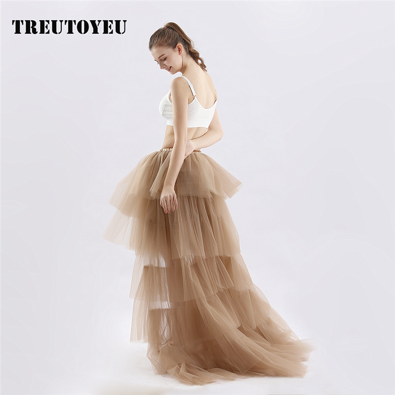 2019 Summer Gothic Tulle Skirt With A Long Train Pleated Skirts Womens Wedding Party Spodnica Jupe Faldas Rok