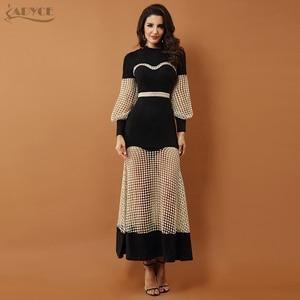 Image 2 - Adyce 2019 New Luxury Evening Dresses ชุดผู้หญิงสีดำยาวแขนยาวลูกไม้ Hollow Out ตาข่าย Maxi ชุดคลับ vestidos