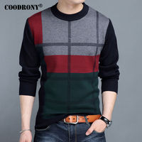 COODRONY Mens Sweaters 2017 Winter New 100 Cashmere Thick Warm Sweater Men Striped O Neck Pullover