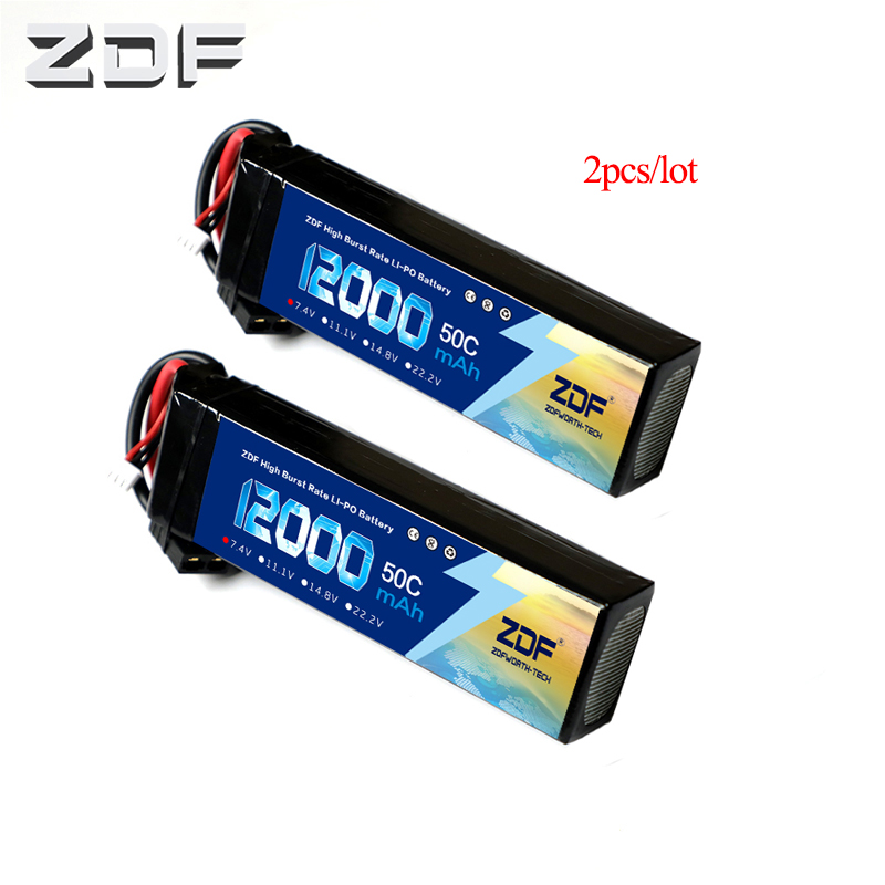 2pcs/lot Rechargeable Lipo Battery ZDF 7.4V 12000mAh 2S4P 50C 100C 88.8WH Lipo Battery for 1/10 RC Car image