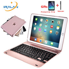 New Aluminum alloy cases For iPad Air 2 Pro 9.7 inch Wireless Bluetooth Keyboard Case Stand Clamshell Tablet Flip Cover+Film+pen(China)