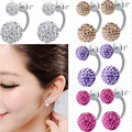 AWAYTR Newest Silver Plated Crystal Double Ball Shamballa Stud Earring for Women  Fashion Ladies Shiny Side earrings jewelry