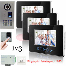1v3 7″ High Resolution Color Video Doorphone Touch Key Indoor Unit +Fingerprint/Code Unlock Outdoor Unit Waterproof(IP65)
