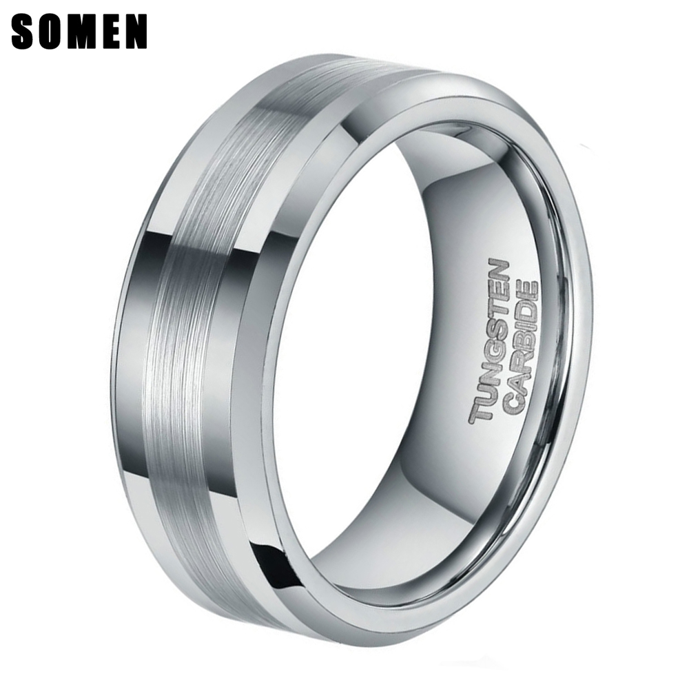 8mm Mens Brushed Silver Color Tungsten Carbide Ring Wedding Bands Polished Engagement Rings Fashion Male Jewelry anel Never Fade