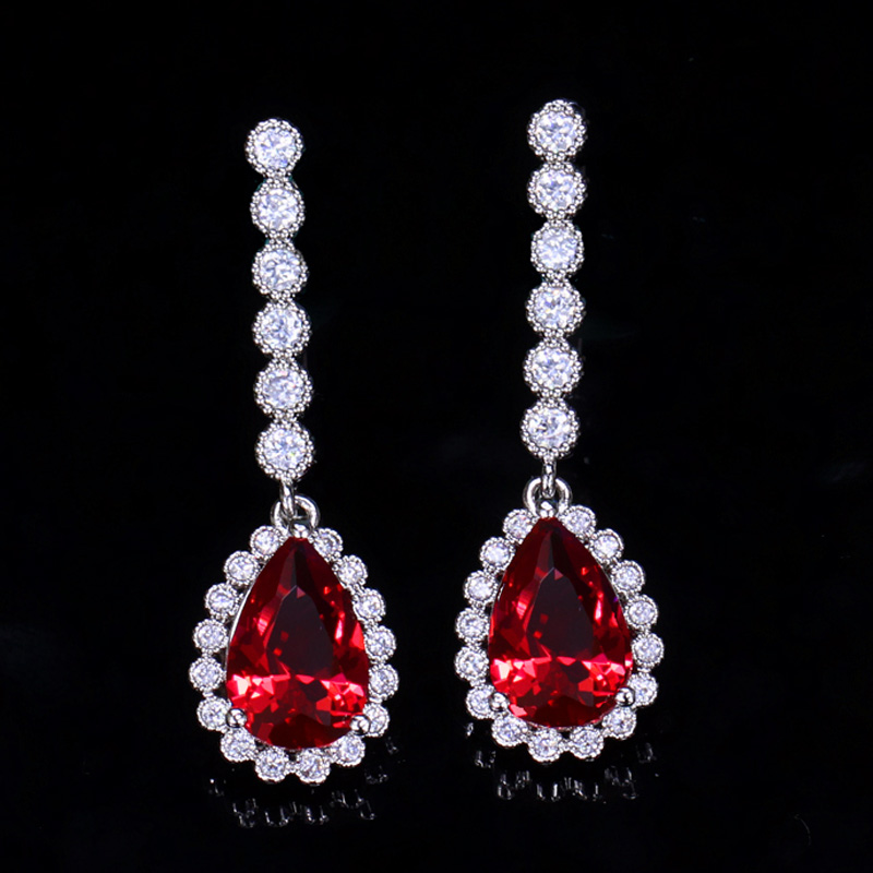 red crystal earring