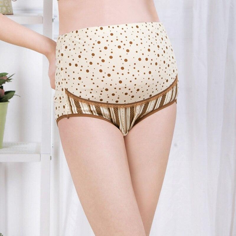 गर्भवती महिलाओं के लिए 100% कपास मातृत्व पैंटी हिगा-कमर मातृत्व पैंटी डॉट मुद्रित मातृत्व अंडरवियर कपड़े