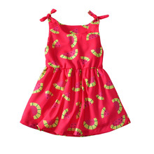 3ad0316f6cda DFXD England Style Summer Kids Girl Clothes Red Sleeveless Watermelon Print  Bowknot Shoulder Vest Beach Dress