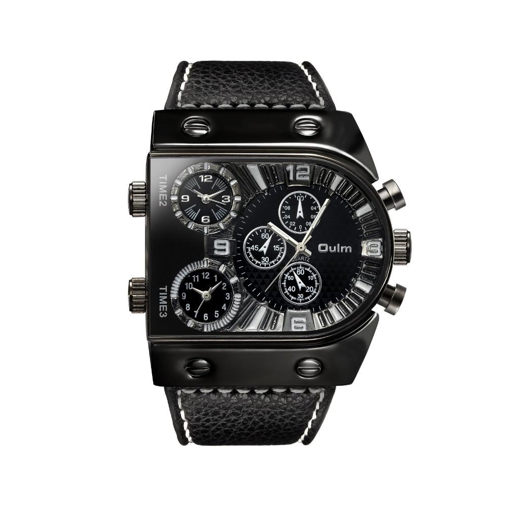 OULM deporte reloj hombres analógico de cuarzo reloj de tiempo de zona Sub-Marca Diseño gran caso de gran tamaño de moda negro muñeca relojes reloj