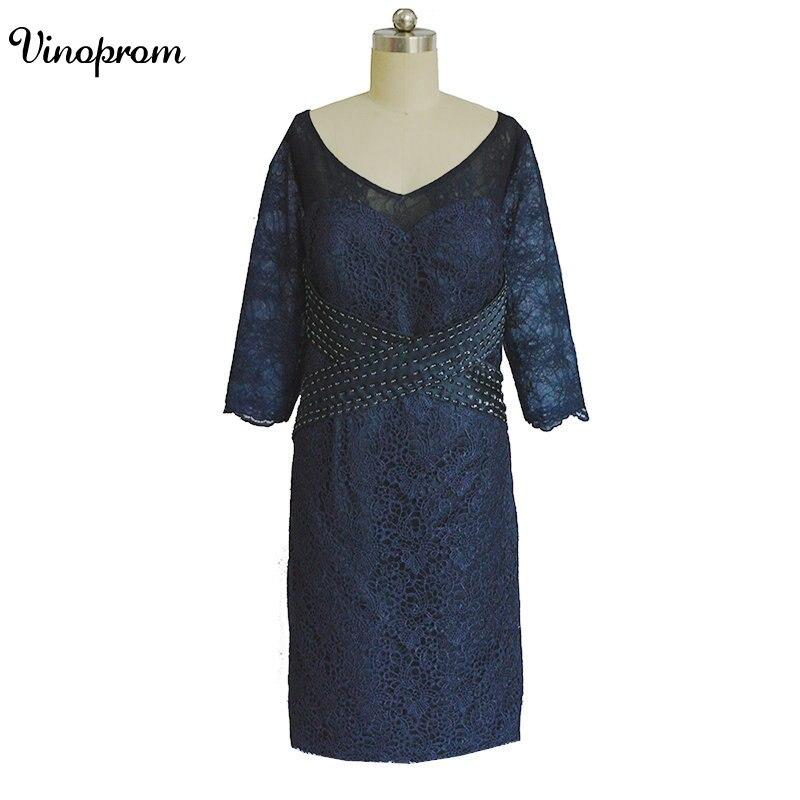 Élégante dentelle mère robes Scoop manches longues dentelle mère de la mariée robe gaine genou longueur robes de soirée avec veste