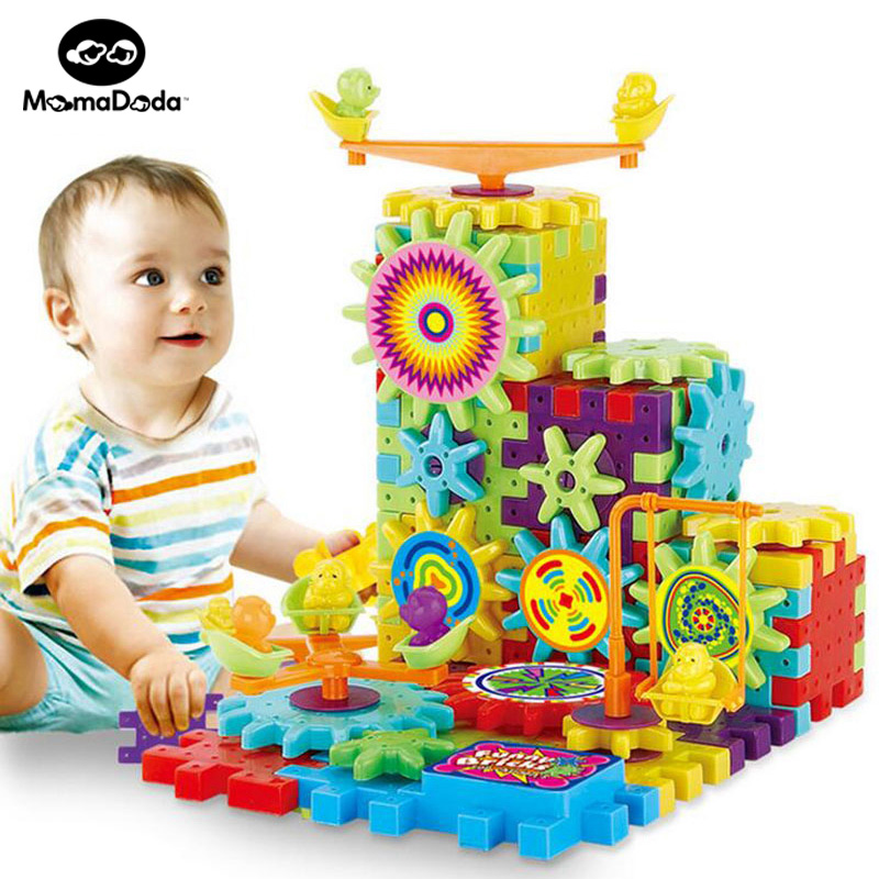 81 Pieces Electric Gears 3D Puzzle Building Kits Plastic Bricks Educational Toys For Kids Toys For Children Christmas Gift