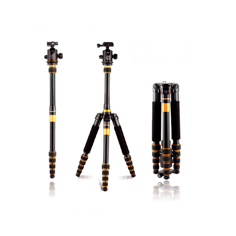 QZSD Q777 Professional SLR Camera Aluminum Alloy Tripod Photography Package Tour Portable Digital Tripod + Ball Head By DHL qzsd carbon fiber q 188c monopod professional portable l camera tripod for slr photography handle ball head dhl free shipping