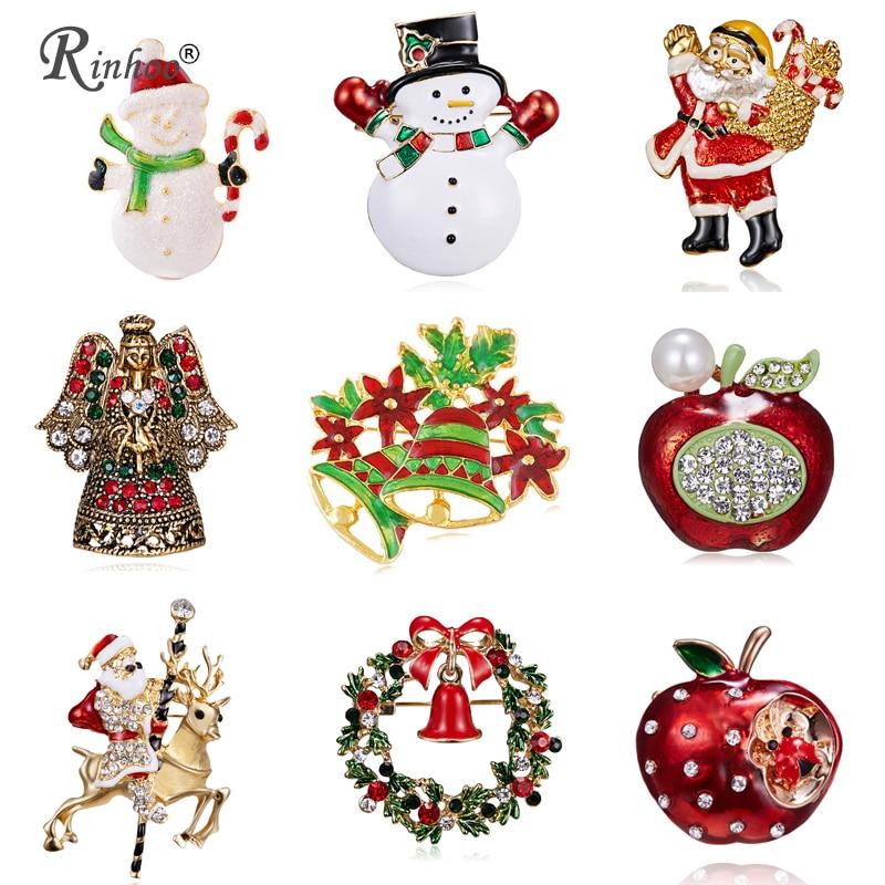 RINHOO 2018 Рождество броши булавки для Для женщин Красный Снеговик Санта Клаус ювелирные изделия Рождество для рождественской вечеринки кристалл брошь булавки подарки