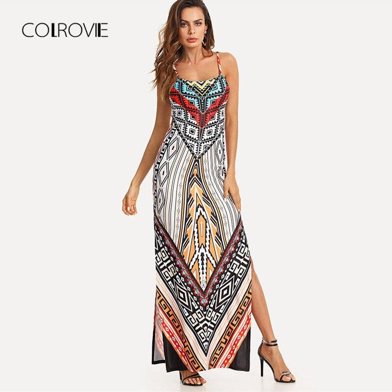 COLROVIE Geo Print Split Cami Boho Dress 2018 New Summer Multicolor Spaghetti Strap Tribal Maxi Dress Shift Beach Women Dress