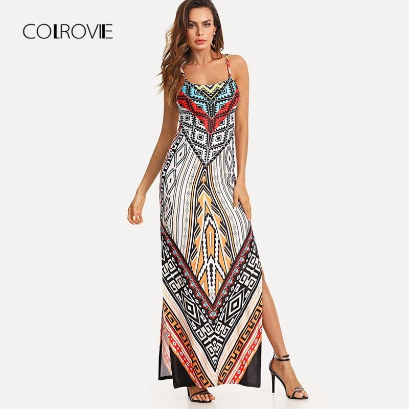 COLROVIE Geo Print Split Cami Boho <font><b>Dress</b></font> 2018 New Summer Multicolor Spaghetti Strap <font><b>Tribal</b></font> Maxi <font><b>Dress</b></font> Shift Beach Women <font><b>Dress</b></font>