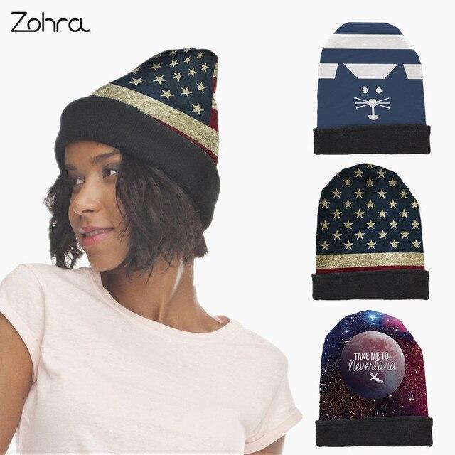 Zohra 2017 Heiße Verkäufe Frauen Männer Beanie Hut Bobble USA Flagge ...