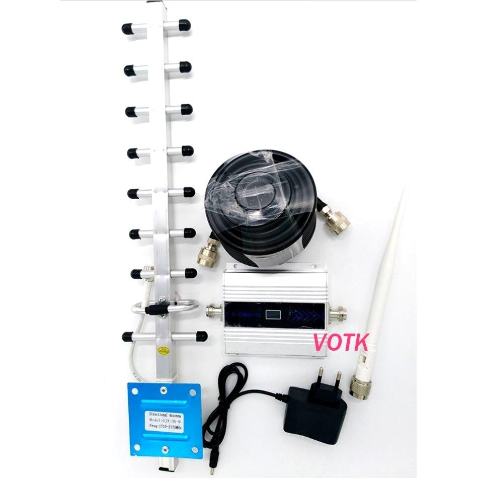 Affichage LCD de booster de signal 3g! Répéteur de signal de téléphone portable wcdma 3g 2100 mhz avec 13dbi yagi, amplificateur de signal de téléphone portable 3g