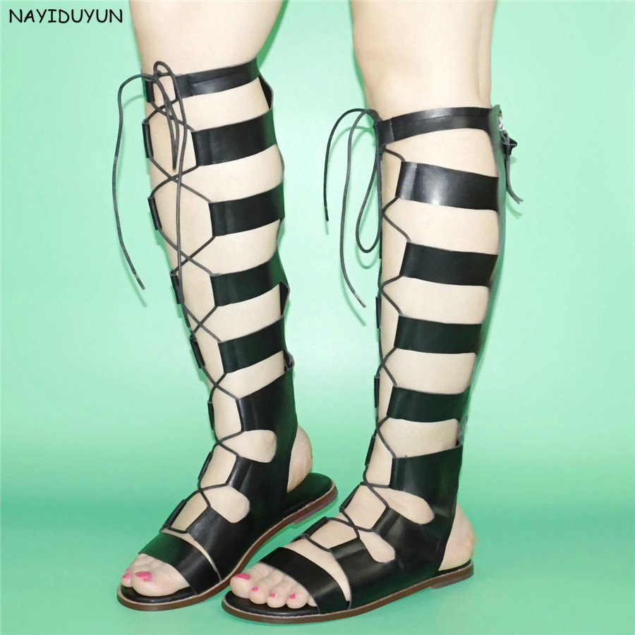 NAYIDUYUN 2017 Fashion Women Sandals Strappy Roman Gladiator Knee High Sandals Flats Summer Boots Party Shoes Plus size 36-43  handmade high quality 2017 summer new knee high boots gladiator women sandals boot real leather flats casual shoes black size 41