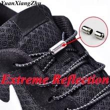 New Reflective Elastic Shoelaces Metal Tip Children Shoelace Round No Tie Convenient Quick Lock Lace Unisex Shoe Laces