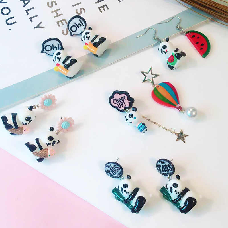 MINGQI Korean cartoon animal unicorn panda bear rainbow cactus LOVE heart asymmetric resin long earrings women fashion jewelry