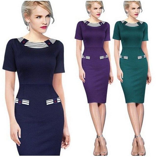 Vestidos 2016 Women Summer Elegant Vintage Pin Up Office Dress XXL Knee  Length Tunic Robe Party Cocktail Sheath Pencil Dresses f8e7cdfbe2d5