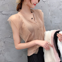 New Summer Women Mesh T Shirt Sleeveless V Neck lace knitted patchwork Tops Tees Female Korean T-Shirt Chic Knit Shirts