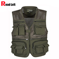 Multifunctional Mens Cotton Army Green Khaki Military Vest Male Mesh Multi-pocket Photography Vests Men Waistcoat Jacket