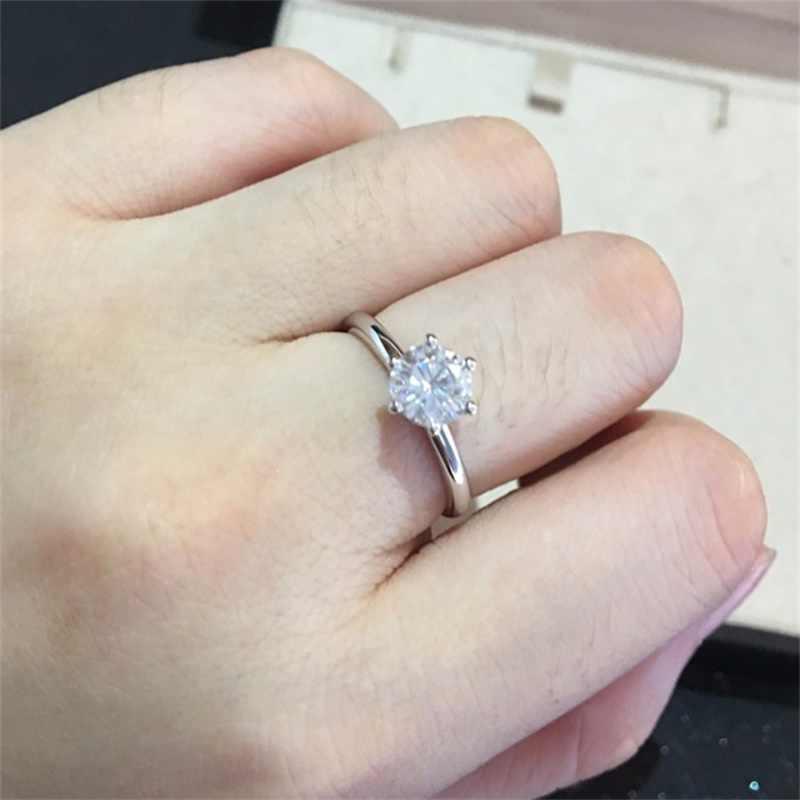 Большая Акция натуральный реальные 925 пробы Серебряные кольца Свадебные украшения 6 и 7 мм Цирконий CZ Diamant Обручальные кольца для Для женщин br121