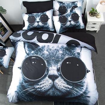 Vivid black cool glasses cat bedding set 3/4pcs duvet cover bed sheet soft pillowcase queen double single size bed linen textile
