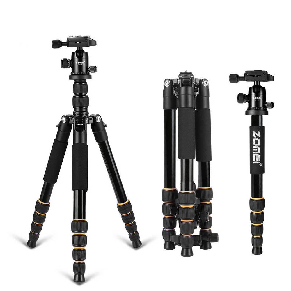 Zomei Q666 Professional Tripod For DSLR Camera Ball Head Tripod Monopod Compact Travel Camera Tripod for Canon Nikon Sony SLR