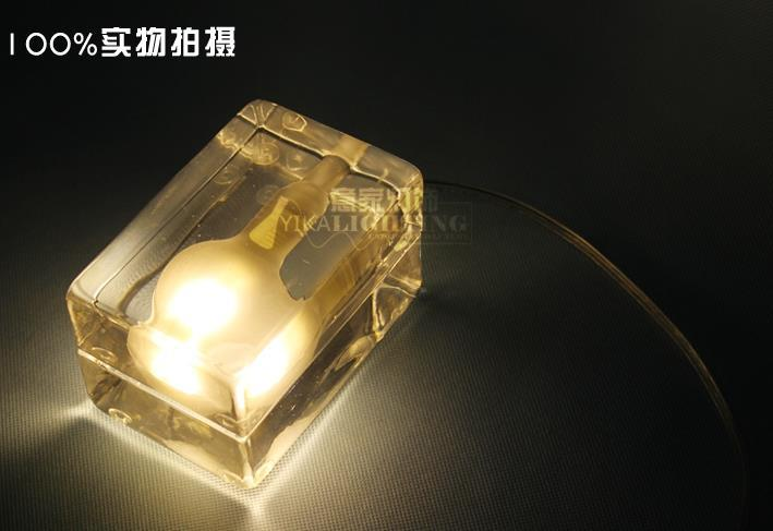 Glass block ice lamp table lamp ice cube desk lamp design house bed room book lamp