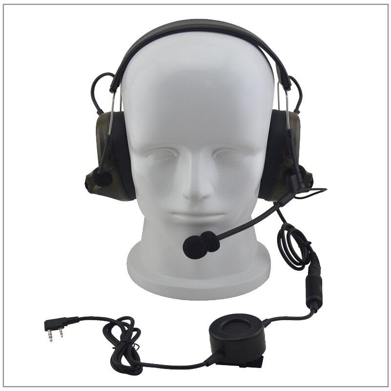 Anti-Bruit CASQUE tactique Duty Réduction Du Bruit Casque w/grand commutateur PTT & 2-pin K plug pour Kenwood Baofeng Airsoft chasse