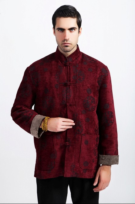 Burgundy Fashion Chinese Style Men's Embroider Dragon Wool Kung-Fu Jacket Coat M L XL XXL XXXL Free Shipping 311-1