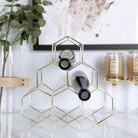 6 Bottle Wine Rack Metal Freestanding Wine Holder Shelf Display Champagne Wine Goblet Rack Holder Storage Stand Bar Decoration