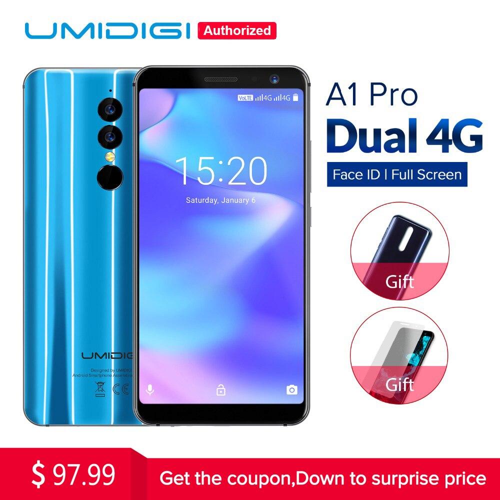 Umidigi A1 Pro Versão Global Dupla 4G LET Smartphone 18:9 Full Tela 3 GB + 16 GB 3150 mAh Android 8.1 Face ID MT6739 Celular