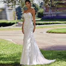 Wedding Dress 2019 Sweetheart Lace Applique Mermaid Backless Vestido De Noiva Bodice Bridal Gown Free Shipping