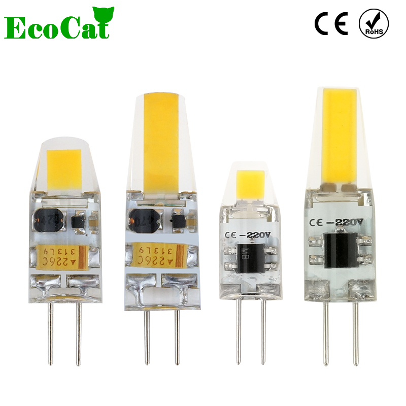 ECO CAT Dimmable G4 LED Lamp 1W 2W LED G4 Bulb DC/AC 12V Lampadas LED COB Light Bulb Replace Halogen Crystal Chandelier Lights