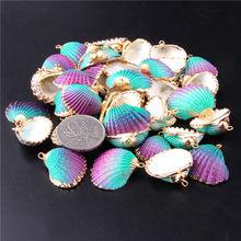 Pingente de concha natural de couro cabeludo, charmes para colar, confecção de joias, confecção de ouro, concha, pulseira, acessórios diy