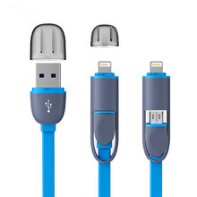 High Quality 8pin 2 in 1 Micro USB Cable Sync Data Charger Cable For iPhone 5 6 6S Plus Samsung S3 S4 S5 Android Phone