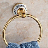 Wholesale And Retail Free Shipping Wall Mounted Golden Brass Bathroom Towel Ring Towel Rack Holder Ceramic