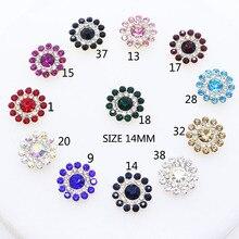 ZMASEY, новинка, 14 мм, красивые, 10 шт./лот, металлические пуговицы, кристаллы, для шитья, пуговицы, Декор, сделай сам, свадебные ювелирные аксессуары, разные цвета