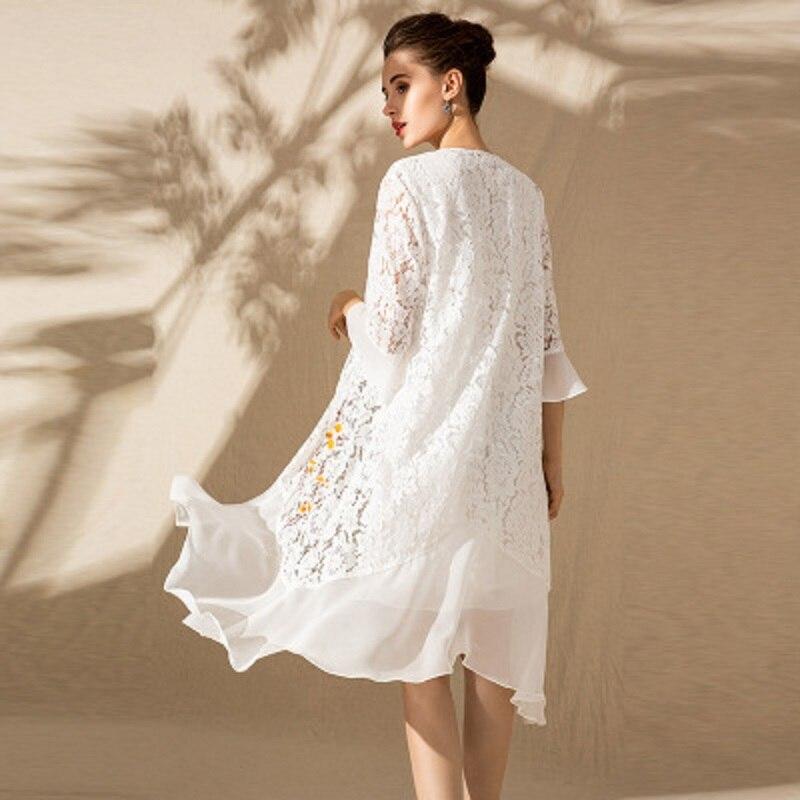 Femmes Robe Châle Robes 2019 Dames Vêtements Nouveau Printemps Broderie Plus Taille Fleur noir Set Dentelle Beige Élégante Vintage La Xxl pSExvwqO