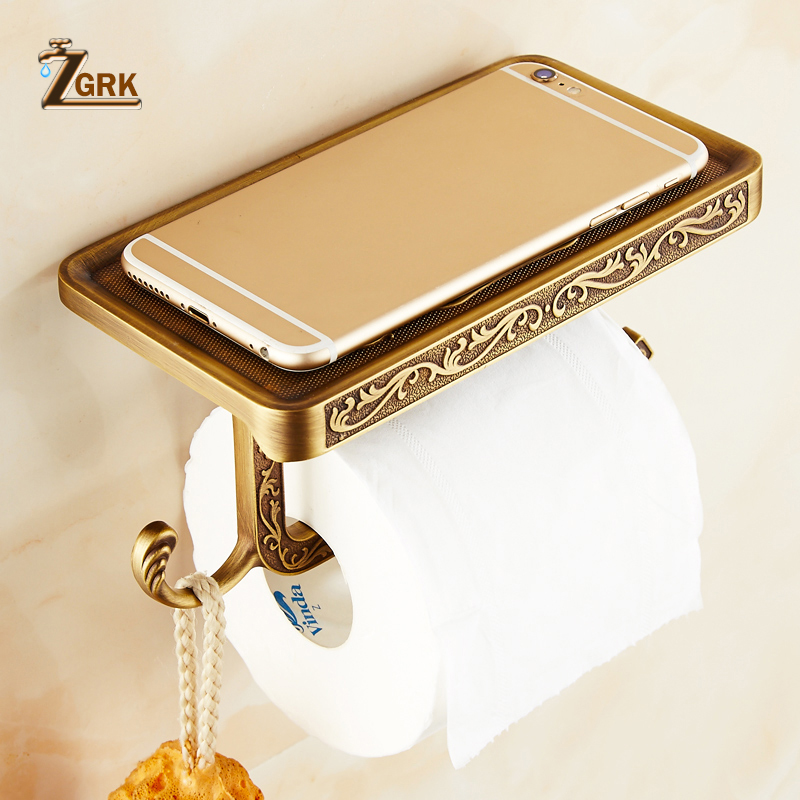ZGRK Bathroom Toilet Holder Paper Towel Hook And Phone Holder Chrome/Gold Mount Toilet Paper Holder Bathroom Hardware