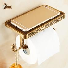 ZGRK Bathroom Toilet Holder Paper Towel Hook And Phone Chrome/Gold Mount Hardware