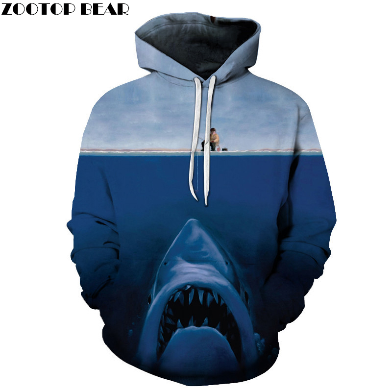 Shark Print 3d Hoodies Men WomenSweatshirts Pullover Male Summer Tracksuits Brand Anime Drop Ship ZOOTOP BEAR Brand 2018