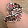 Wholesale Wide Resin Flower Bangles For Women Hand Accessories Vintage Turkish Hollow Out Flower Bracelets Bangles Charm pulsera