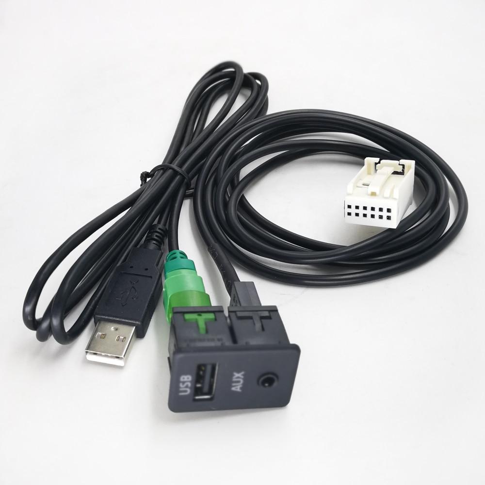 Biurlink Car Aux/USB Panel Switch Button DIY AUX USB